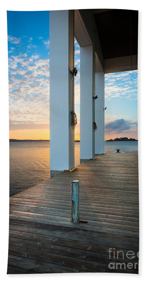 Blekinge Bath Sheet featuring the photograph Sunrise Boardwalk by Inge Johnsson