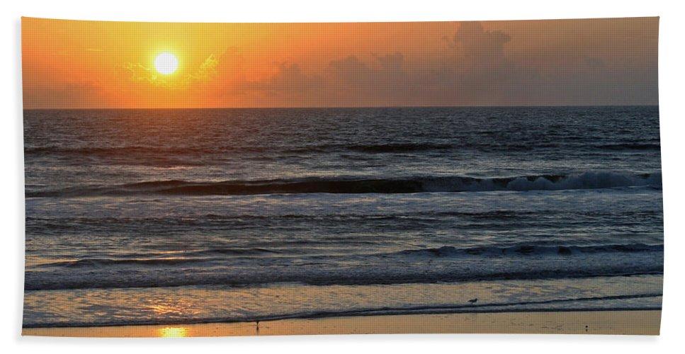 Sunrise Hand Towel featuring the photograph Sunrise Daytona by Shirley Roberson