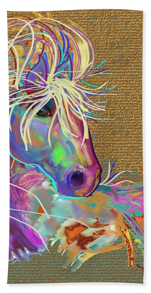 Horse Hand Towel featuring the painting Sunrise Flash by Marie Clark