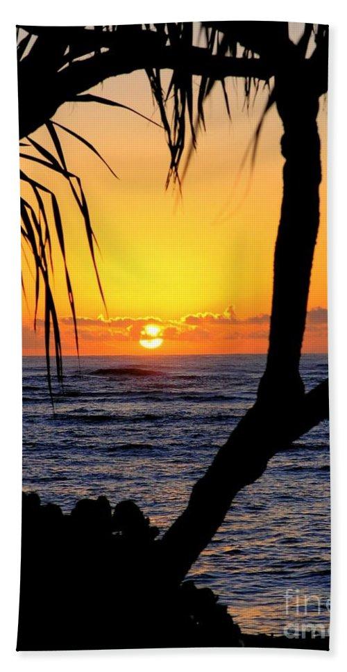 Seascape Bath Towel featuring the photograph Sunrise Fuji Beach Kauai by Mary Deal