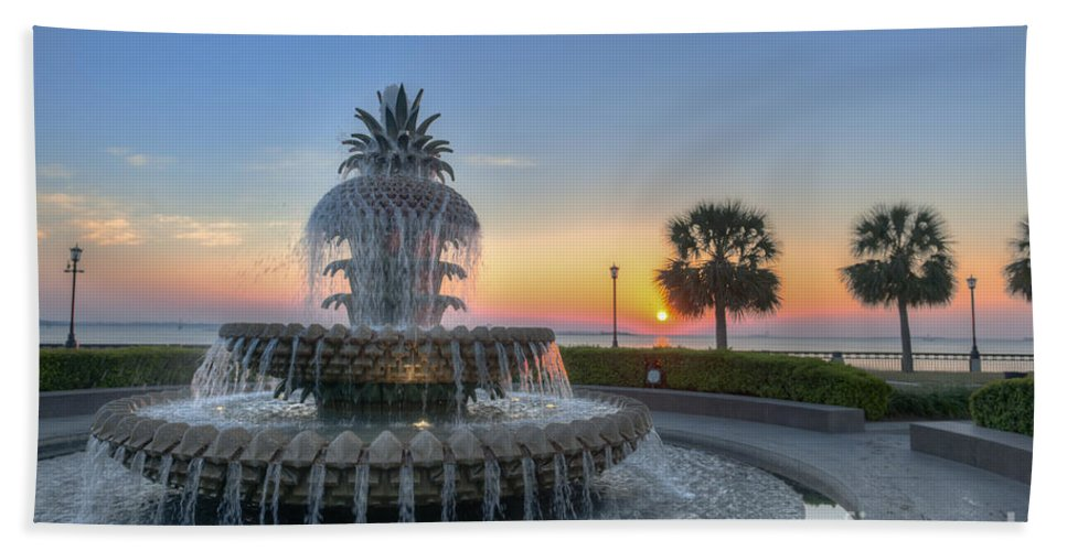 Pineapple Fountain Hand Towel featuring the photograph Sunrise In Charleston by Dale Powell