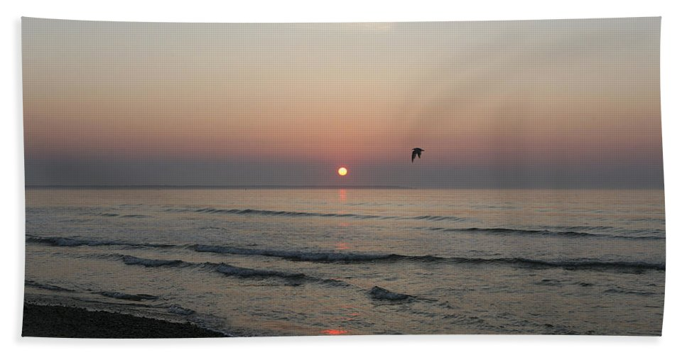 Sunrise Hand Towel featuring the photograph Sunrise In Maine by Eric Swan