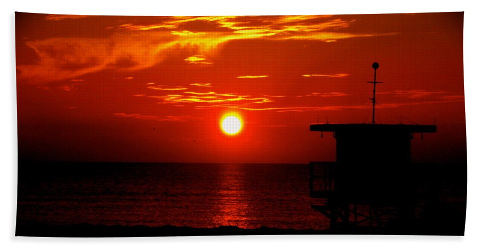 Sunrise Print Hand Towel featuring the photograph Sunrise In Miami Beach by Monique's Fine Art