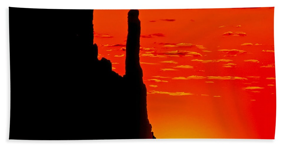 Sunrise Hand Towel featuring the painting Sunrise In Monument Valley by Bob and Nadine Johnston