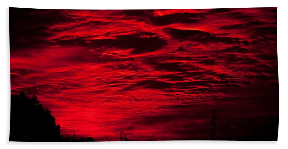 Landscape Hand Towel featuring the photograph Sunrise In Red by Photos By Cassandra