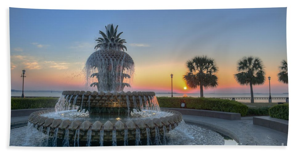 Pineapple Fountain Hand Towel featuring the photograph Sunrise In The Lowcountry by Dale Powell
