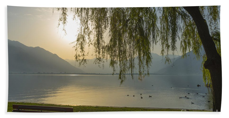Lake Hand Towel featuring the photograph Sunrise by Mats Silvan