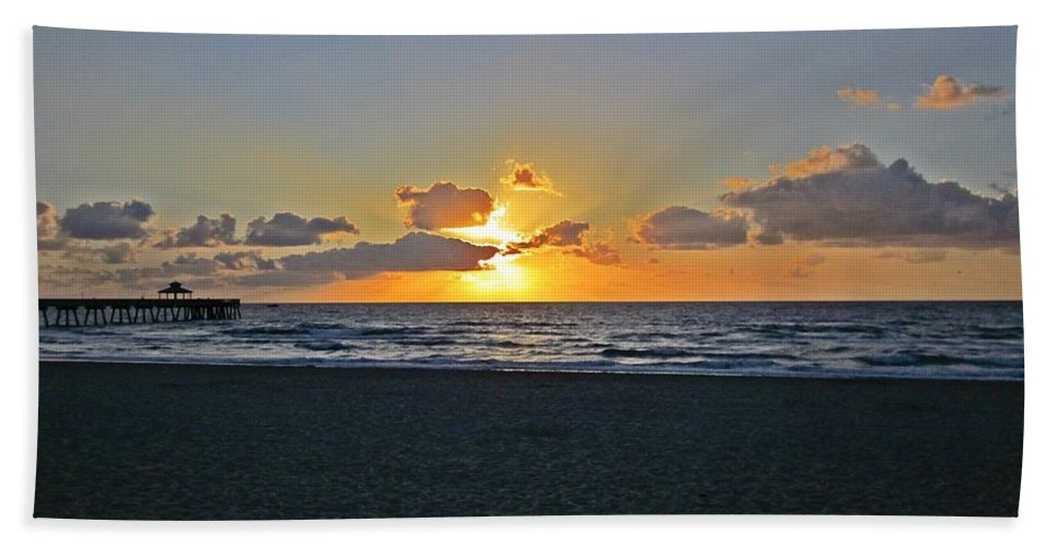 Florida Hand Towel featuring the photograph Sunrise On Deerfield Beach by MTBobbins Photography
