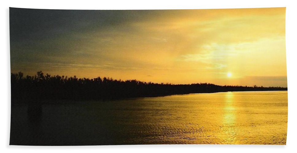 Sunrise Bath Sheet featuring the photograph Sunrise On Ole Man River by Michael Hoard