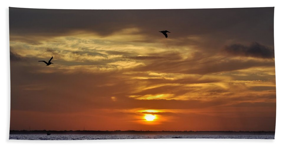 Sunrise Hand Towel featuring the photograph Sunrise On Tampa Bay by Bill Cannon