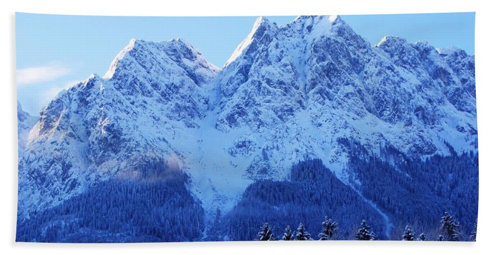 Snow Landscape Hand Towel featuring the painting Sunrise On The Alps by Misuk Jenkins