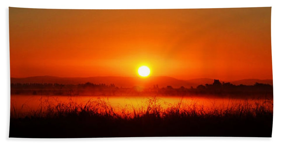 Rice Hand Towel featuring the photograph Sunrise On The Rice Fields by Holly Blunkall