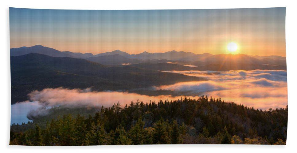 Photography Bath Towel featuring the photograph Sunrise Over The Adirondack High Peaks by Panoramic Images