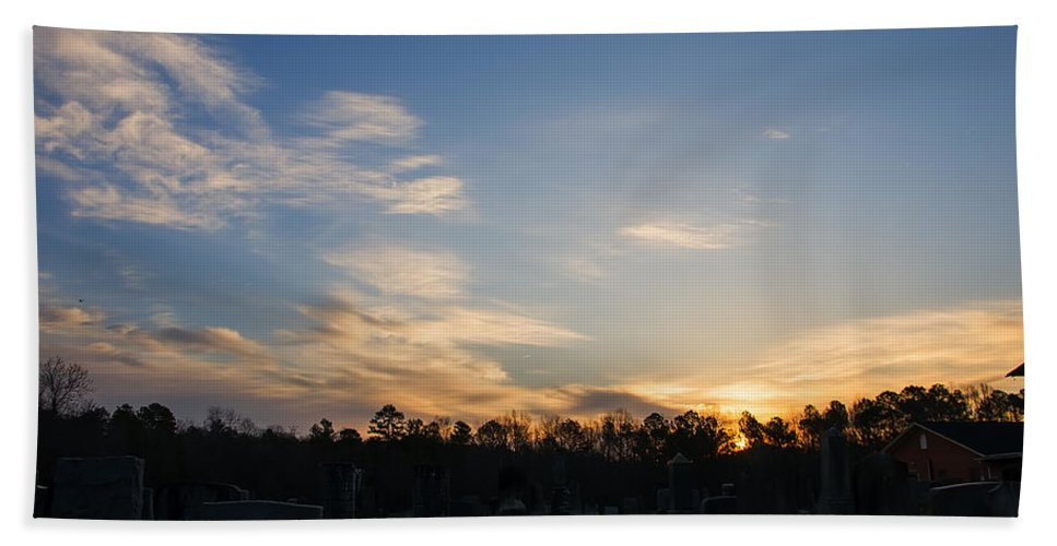 Landscape Hand Towel featuring the digital art Sunrise Over The Cemetary by Chris Flees