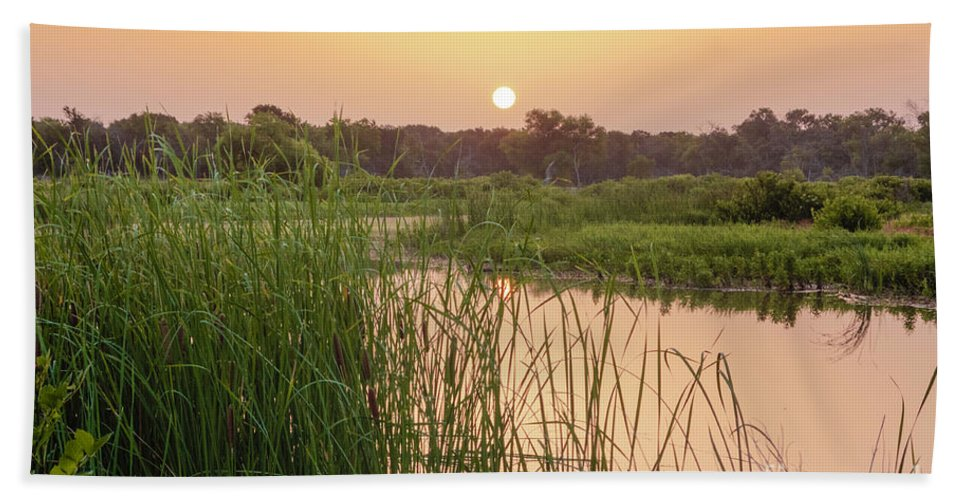 Cutts Nature Photography Bath Sheet featuring the photograph Sunrise Over The Marsh by David Cutts