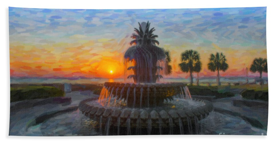 Pineapple Fountain Hand Towel featuring the digital art Sunrise Over The Pineapple by Dale Powell