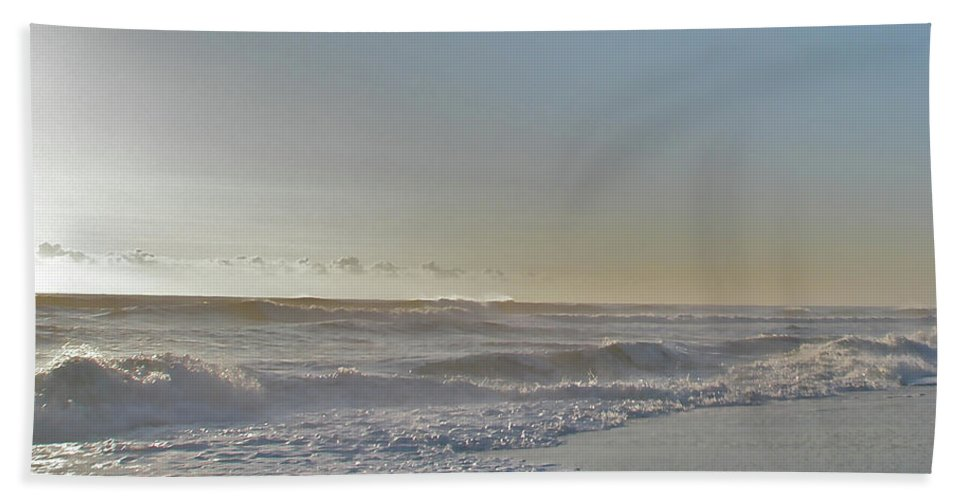 Sunrise Bath Sheet featuring the photograph Sunrise Surf - Island Beach State Park Nj by Mother Nature