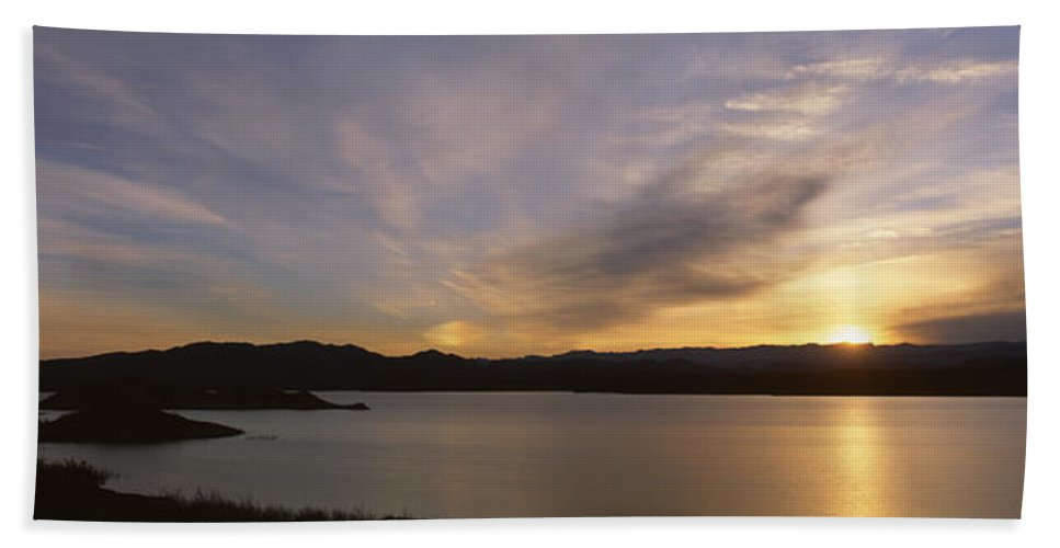 Photography Hand Towel featuring the photograph Sunrise Temple Bar Lake Mead by Panoramic Images