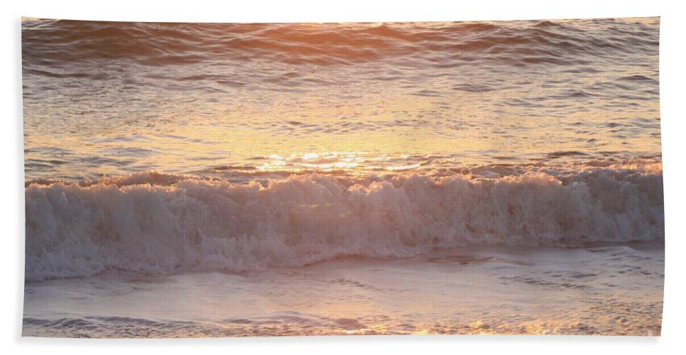 Waves Hand Towel featuring the photograph Sunrise Waves by Nadine Rippelmeyer