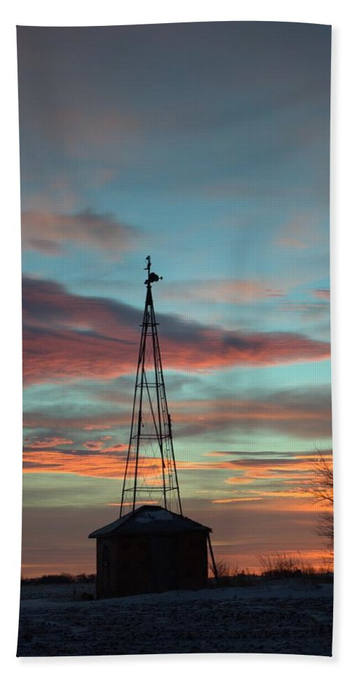 Windmill Bath Sheet featuring the photograph Sunrise Windmill by Bonfire Photography
