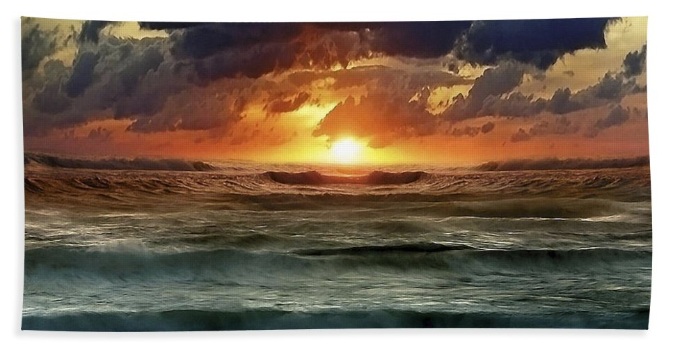 Sunset Hand Towel featuring the photograph Sunset 12 by Ingrid Smith-Johnsen