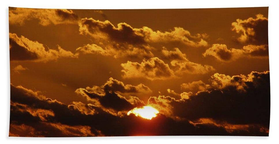 Sunset Hand Towel featuring the photograph Sunset 5 by Bob Slitzan