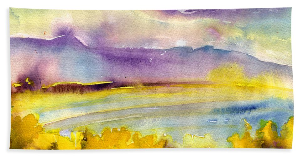 Aquarelle Bath Sheet featuring the painting Sunset 52 by Miki De Goodaboom