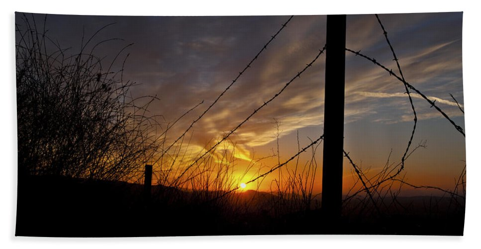 Sunset Mountains Photographs Hand Towel featuring the photograph Sunset Along The Fence Yellow Red Orange Fine Art Photography Print by Jerry Cowart