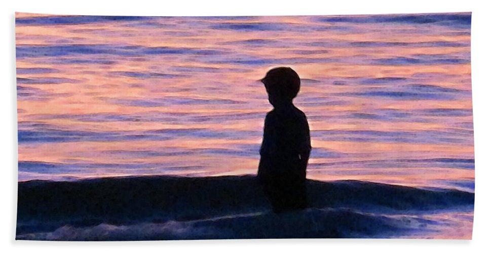 Children Hand Towel featuring the painting Sunset Art - Contemplation by Sharon Cummings