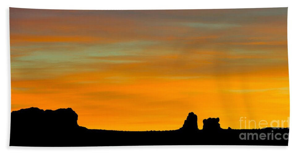 Nature Bath Sheet featuring the photograph Sunset At Arches National Park by John Shaw