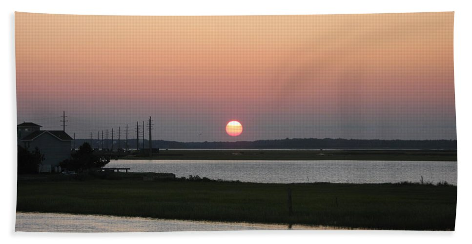 Sunset Bath Sheet featuring the photograph Sunset At Chincoteague Channel by Christiane Schulze Art And Photography