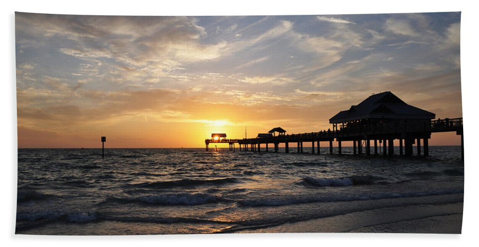 Sunset At Clearwater Hand Towel featuring the photograph Sunset At Clearwater by Bill Cannon