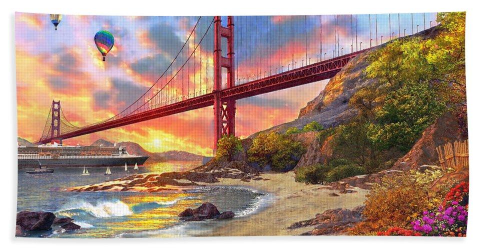 Golden Gate Bath Towel featuring the digital art Sunset at Golden Gate by MGL Meiklejohn Graphics Licensing