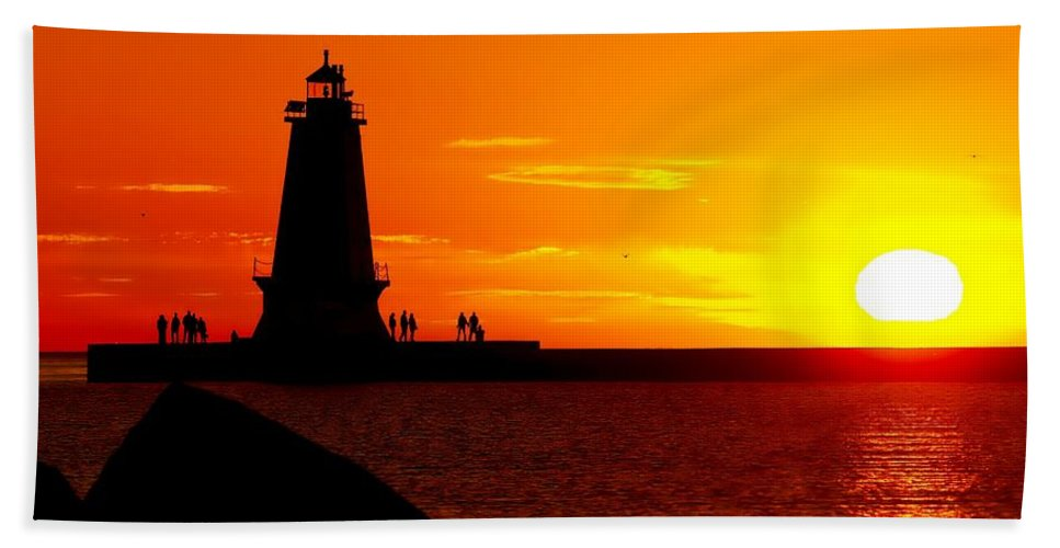 America Hand Towel featuring the photograph Sunset At Ludington by Nick Zelinsky