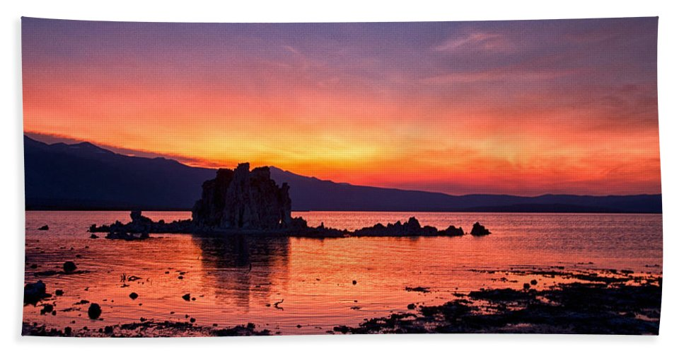 Sunset Bath Sheet featuring the photograph Sunset At Mono Lake by Cat Connor