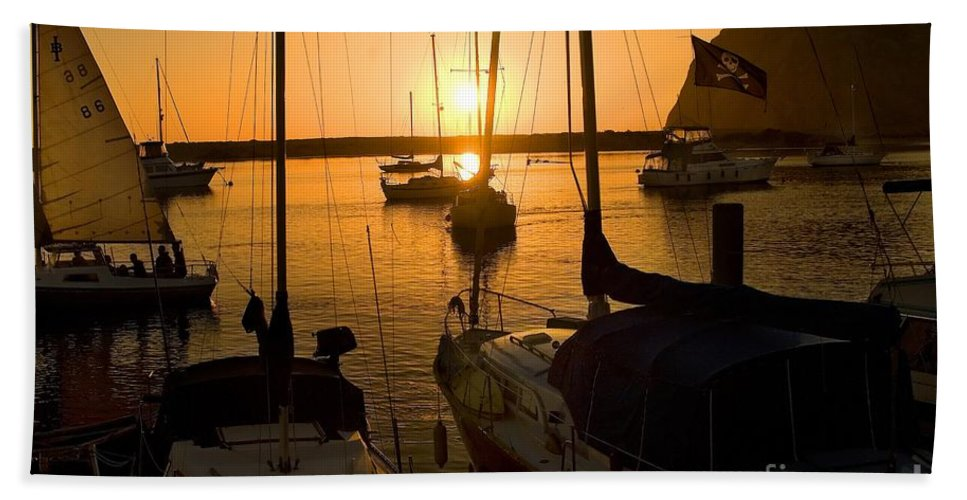 Sunset Bath Sheet featuring the photograph Sunset At Morro Bay by Timothy Hacker