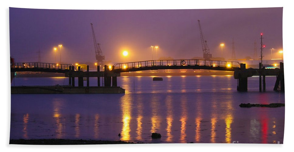 Southampton Docks Hand Towel featuring the photograph Sunset At Southampton Docks by Terri Waters