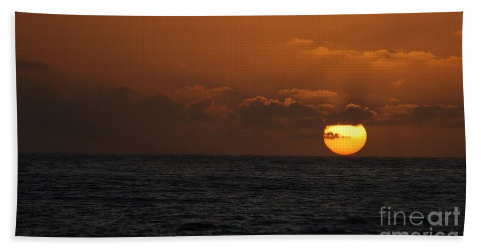 The Sun At St Ives Bath Sheet featuring the photograph Sunset At St Ives by Jenny Potter