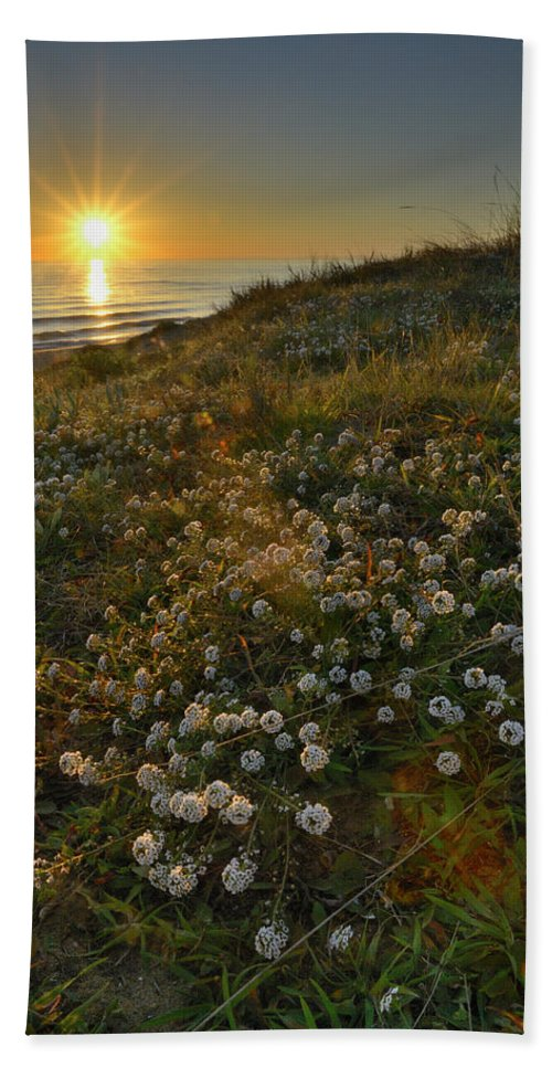 Seascape Hand Towel featuring the photograph Sunset At The Beach White Flowers On The Sand by Guido Montanes Castillo