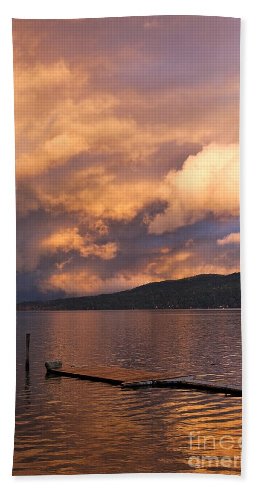 Sunset Hand Towel featuring the photograph Sunset At The Dock by Louise Heusinkveld