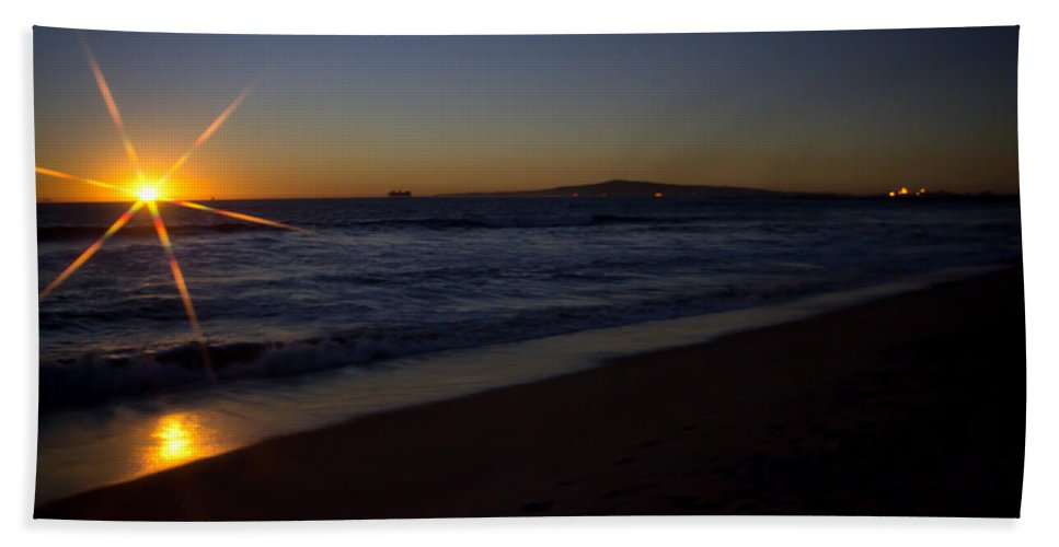 Background Bath Sheet featuring the photograph Sunset Beach by Heidi Smith