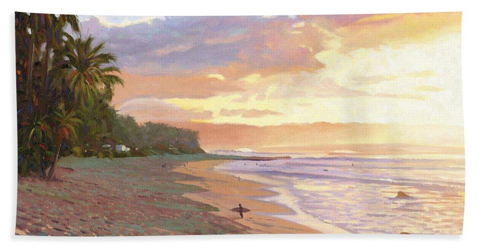 Sunset Beach Hand Towel featuring the painting Sunset Beach - Oahu by Steve Simon