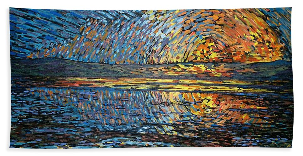 Sea Bath Sheet featuring the painting Sunset Before The Storm by Michael Graham