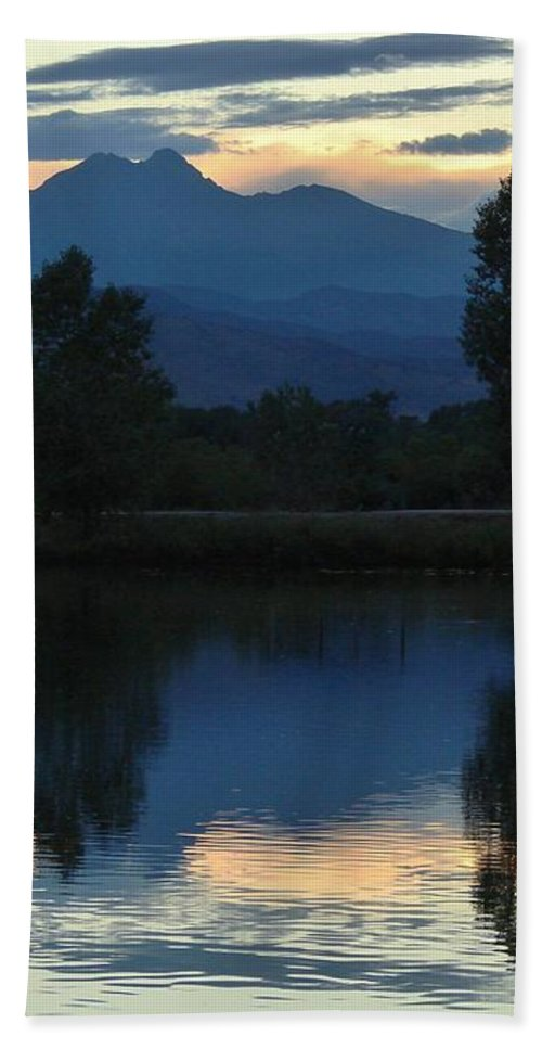 Mountain Hand Towel featuring the photograph Sunset Blue by Margaret Bobb