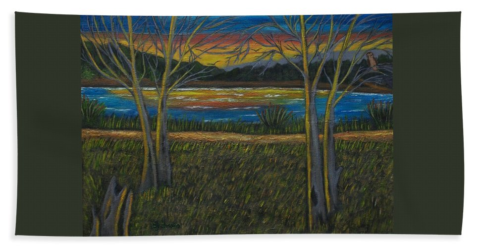 Landscape Bath Sheet featuring the painting Sunset by Brenda Drain