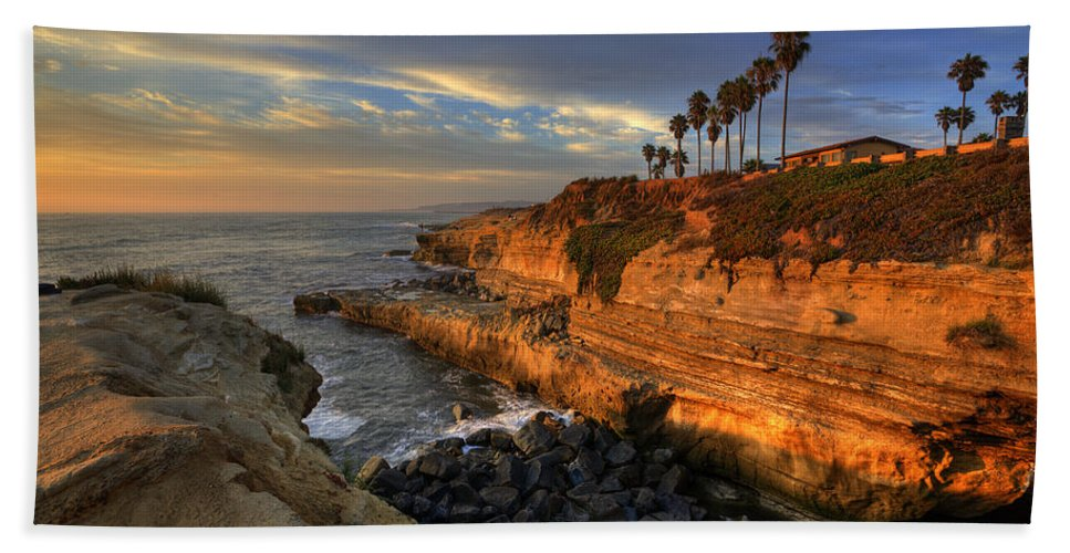Clouds Bath Sheet featuring the photograph Sunset Cliffs by Peter Tellone