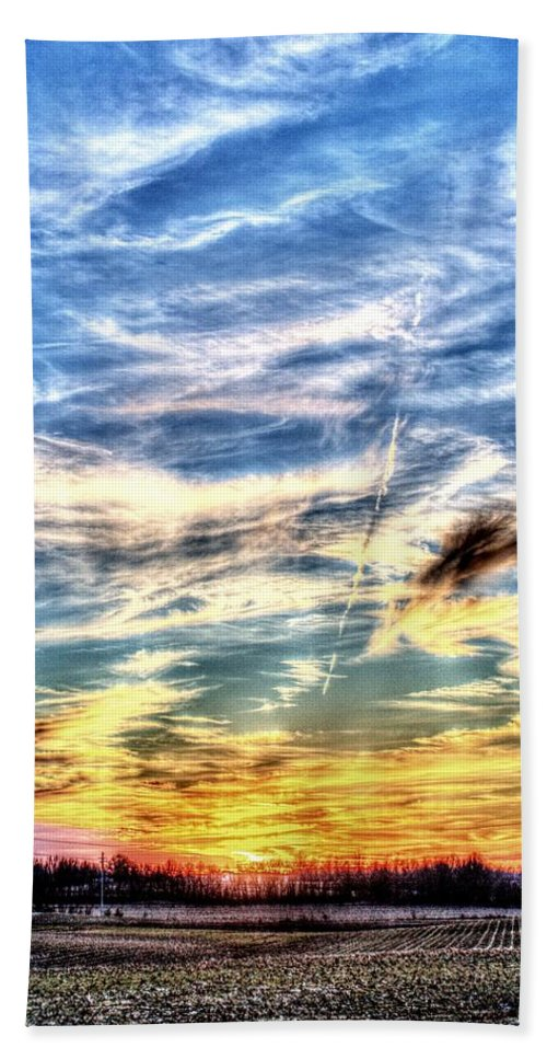 Sunset Bath Sheet featuring the photograph Sunset Clouds by David Zarecor