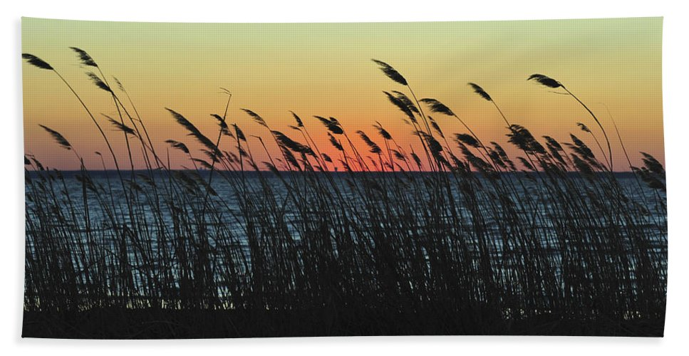 Sunset Hand Towel featuring the photograph Sunset Colors Island Beach State Park Nj by Terry DeLuco