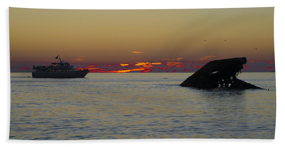 Sunset Hand Towel featuring the photograph Sunset Cruise At Cape May by Bill Cannon