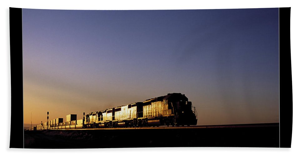Train Bath Sheet featuring the photograph Sunset by Daniel Troy